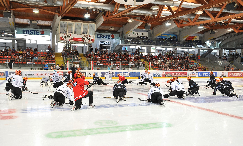 Eishockey Trainingsauftakt Black Wings Linz 05.08.2013 – Mannschaft 1