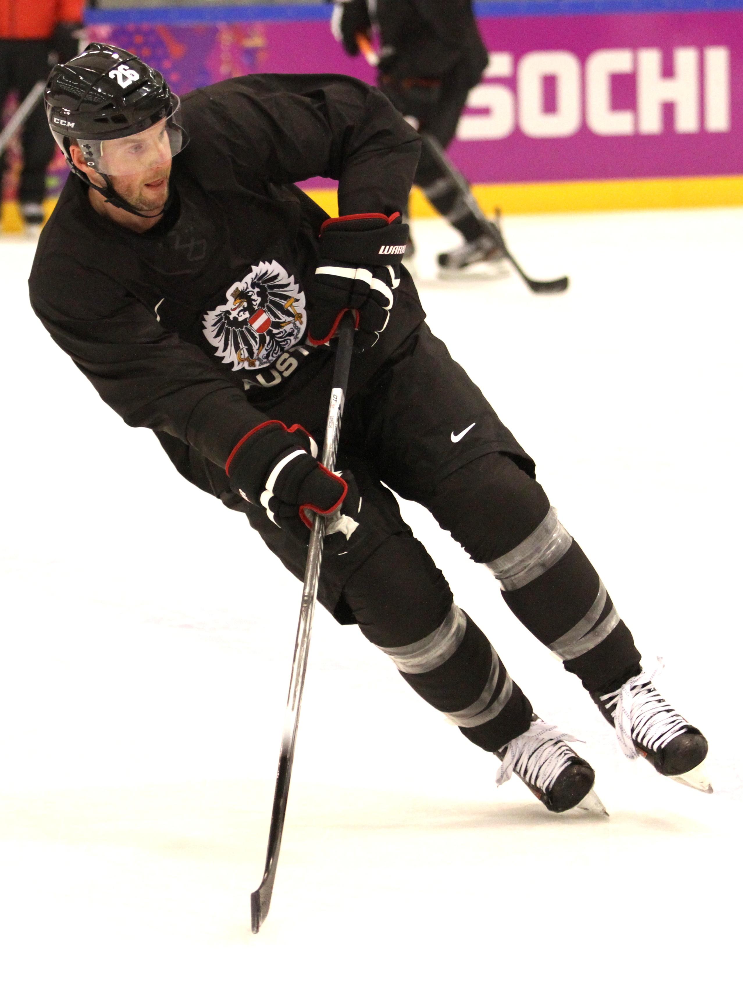 Im Bild: Thomas Vanek #26 AUT New York Islanders, Training Eishockey Olympic Winter Games 2014 Sochi, Olympische Spiele Bolshoy
